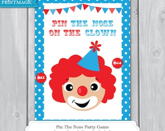 Pin the Nose on the Clown Printable Party Game - Circus Birthday Party Game - Clown Party Game - Circus Party Activity - Instant Download