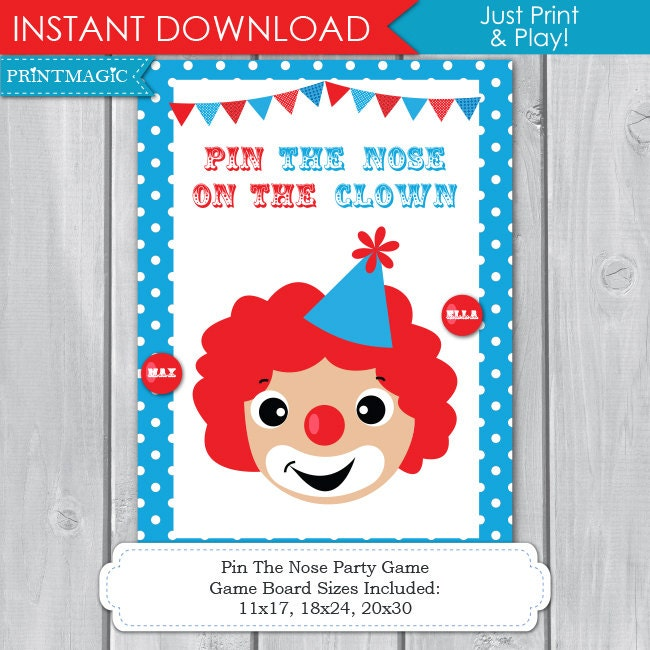 12 Fun Circus Carnival Party Games: Pin The Nose On The Clown Printable Party Game Circus