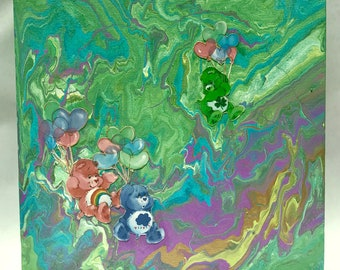 Fluid Art Canvas - Care Bears in the Clouds