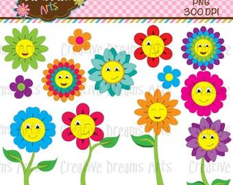 40% Off! Happy Flowers Digital Clip Art Instant Download