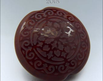 BURNT SIENNA SCROLLS – Sandblasted Lentil Focal Bead -  Focal Handmade Jewelry Supplies - by Stephanie Gough sra leteam