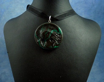 Jade Marble Cthulhu Cameo Necklace, Handmade Polymer Clay Jewelry