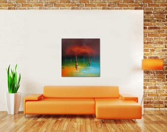 Abstract Oil Painting, Seascape, Abstract Art, Sailboats Painting, Canvas Wall Decor, Original Artwork, Sunset Painting, Abstract Canvas Art