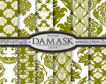 Olive Green Damask Graphics for Scrapbooking - Printable Paper Pack - Instant Download