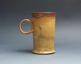 Half Price - Pottery coffee mug, ceramic mug, stoneware tea cup honey amber 14 oz 4047