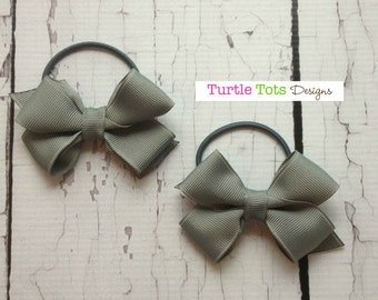 Ponytail Holder-Pigtail Holder- Toddler Ponytail Holder-Pigtail Bows-Girls Hair Tie-Elastic Tie -Gray