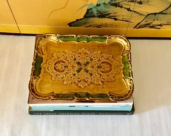 Vintage Rectangular Gold and Green Florentine Serving Tray, Drinks Tray, Bar Tray
