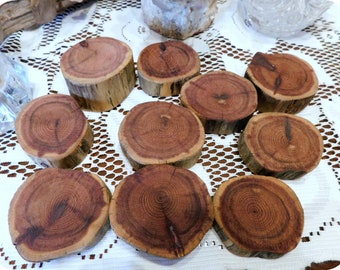 10 Genuine Small Cedar Tree Wood Slices For Wedding Decor. Table Decorations Woodland Themed. Woodsman. Lumberjack. Red Heartwood Sanded