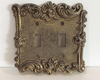 Light Switch Cover Brass Switch Plate Metal Switch Cover Gold Hollywood Regency Lightswitch Cover Double Light Switch Floral Ornate Brass