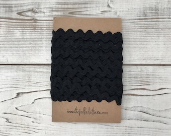 Black Ric Rac 10 Yards - Black Ric Rac - Ric Rac - Black - Black trim - Black Zig Zag - Black Vintage trim - Wholesale Ric Rac - Fabric ric