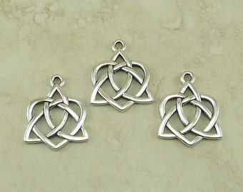 3 TierraCast Large Open Heart Celtic Knot Charms > Love Irish Triquetra - Fine Silver Plated Lead Free Pewter - I ship Internationally 2390