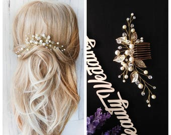 Swarowski Bridal Hair Comb Crystals Bridal Wedding Headband Hair Jewelry White Pearl Headpiece Pearl Hair Vine