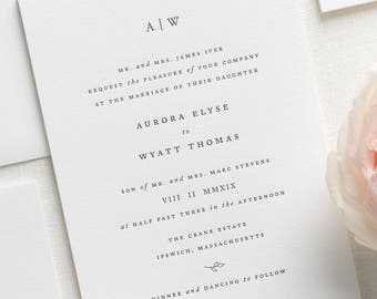 Aurora Letterpress Wedding Invitations - Sample