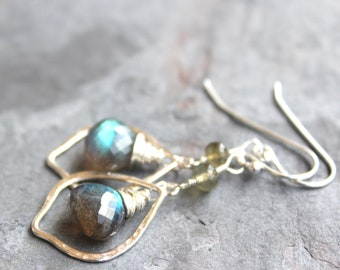 Sterling Silver Labradorite Earrings Marquise Hammered Hoops Gray Gemstone Dangles