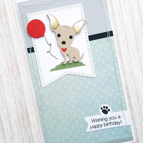 Yappy Birthday Card Cute Chihuahua Card Small Dog Birthday