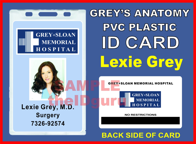 Grey\'s Anatomy (Lexie Grey\'s) ID Badge / Card Prop ~ PVC Plastic ID ...