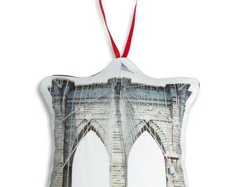 Brooklyn Bridge Ornament - Mini Stuffed Pillow - Holiday Decoration - NYC Souvenir - Hanging Cushion