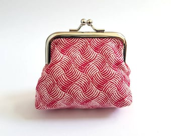 Red Crosshatch Coin Purse