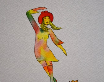 FALL fashion, original drawing, ink, watercolor, woman, leaf, wind