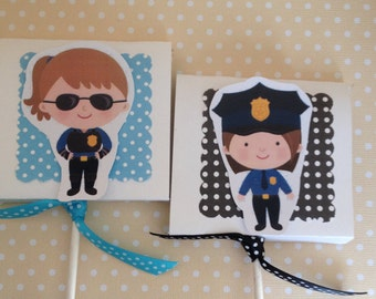 Policewoman, Law Enforcement Party Lollipop Favors - Set of 10