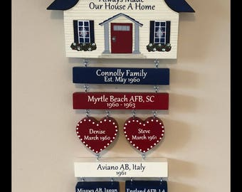 Home is Where the Air Force, Army, Navy, Coast Guard, Marines Sends Us.  Military Duty station signs