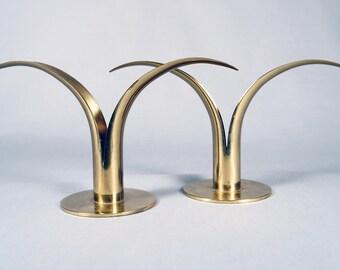 Alenius-Björk, Ystad Metall of Sweden, brass Lily form candlestick holders