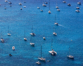 Seascape Photography, Resin Coated, Wall Art, St. Barths, Caribbean, Print, Limited Edition - Sailboats #3