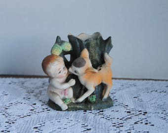 Vintage Small Vase Hand Painted Cherub and Fawn Made in Japan