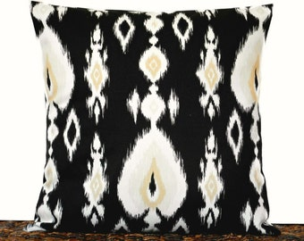Black Ikat Pillow Cover Cushion White Sand Beige Decorative 16x16
