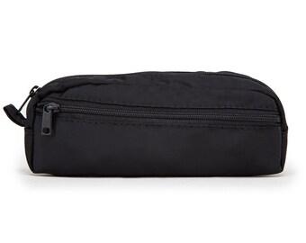Black Nylon Pencil Case, Simple Pen Pouch, Pen Case, Zipper Pouch,Cosmetic Bag, Make up Bag,Dopp Kit, Pencil Bag,Pencil Case