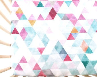 Crib Sheet Orchid Watercolor Triangles. Fitted Crib Sheet. Baby Bedding. Crib Bedding. Crib Sheets. Pink Crib Sheet.
