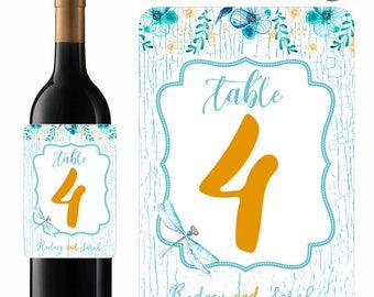 Wedding Wine Labels Table Numbers Blue Dragonfly Rustic Wood Background Designer Labels Waterproof Vinyl