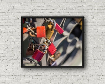 Love Locks Print / Digital Download / Fine Art Print/ Wall Art / Home Decor / Color Photograph / Travel Photography / Frankfurt Germany