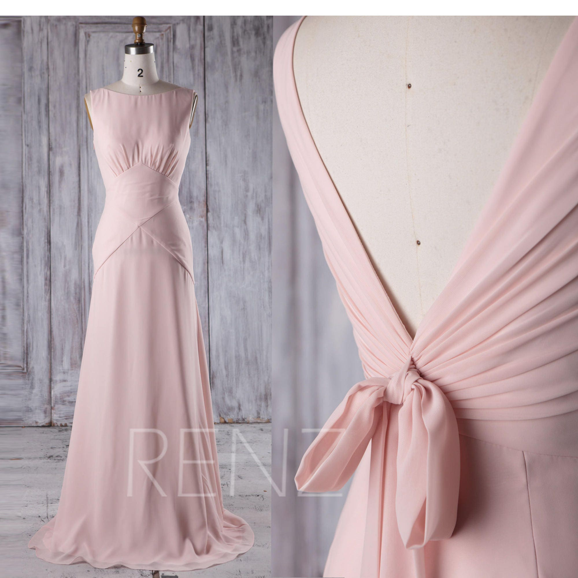 Peach chiffon bridesmaid dressv back wedding dress with zoom ombrellifo Images