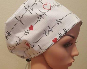 Women's Surgical Cap, Scrub Hat, Chemo Cap, EKG pattern