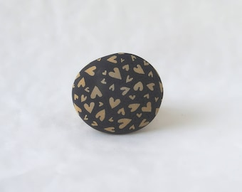 Painted pebbles, pebble art, hand painted rocks, painted stones - hearts in black, painted heart pebbles