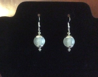 Handcrafted Full Moon Opaque Pierced Earrings in Silver Tone