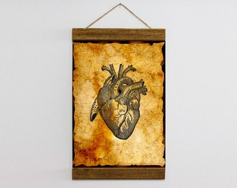 """Wood Frame Included Vintage Heart Illustration Anatomy Theme Canvas Print Wall Art 8.7'' x 11.8'' or 11.8"""" x 15.7"""" Ready to Hang  b149"""