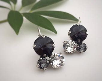 Cluster Earrings, Leaverback Earrings, Black and Clear Crystal Earrings