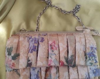 Bag Vintage cross body floral ruffled 1980s