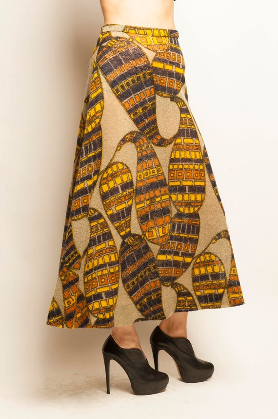 Christian Dior late 1960's eccentric geometric motif linen knitting long skirt