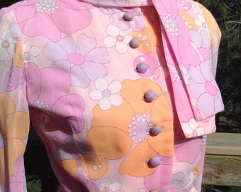 Papillon rose Vintage robe Leslie Fay