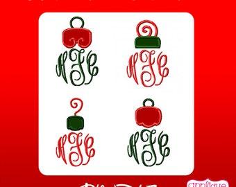 Four Christmas Ornament Tops for Monogramming Digital Applique Design Instant Download
