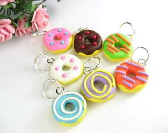 Fun Donuts Stitch Markers, donut polymer clay, knit, food stitch markers, donut charms, doughnut, colorful, knitting accessories, gift her