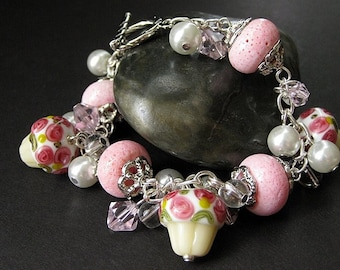 Pink Cupcake Bracelet. Lampwork Glass Charm Bracelet with Sponge Coral and Pearl Beads. Cluster Bracelet. Handmade Jewelry by Gilliauna