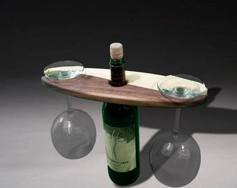 Wine bottle and glass display rack yin yang