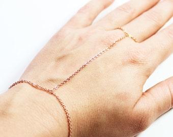 Simple Rose Gold Hand Chain - Rose Gold Slave Bracelet