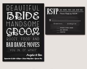 Black and White fun wedding invitation - Digital Download, fully customizable