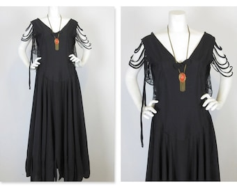 Vintage 1920s Robe de Style Flapper Evening Dress, Sz M / Rare, Beautiful / Art Deco Period / Black Tie Event / New Years Eve / Gatsby
