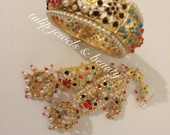 Indian/ Pakistani Hyderabadi jadu jewellery designer Jewellery  earrings & bangle gold plated (2.4-2.6)